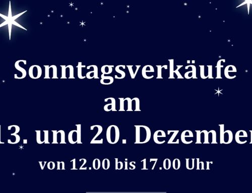 Sonntagsverkauf Dezember 2020